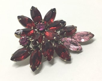 Vintage Flower Rhinestone Brooch, Red and Pink Rhinestone Brooch, Rhinestone Jewelry,