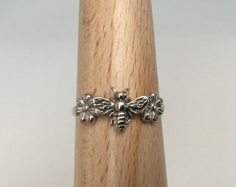 Handmade USA Bee Ring, 925 Flower Bee Ring, Stacking Ring, Solid Sterling Silver