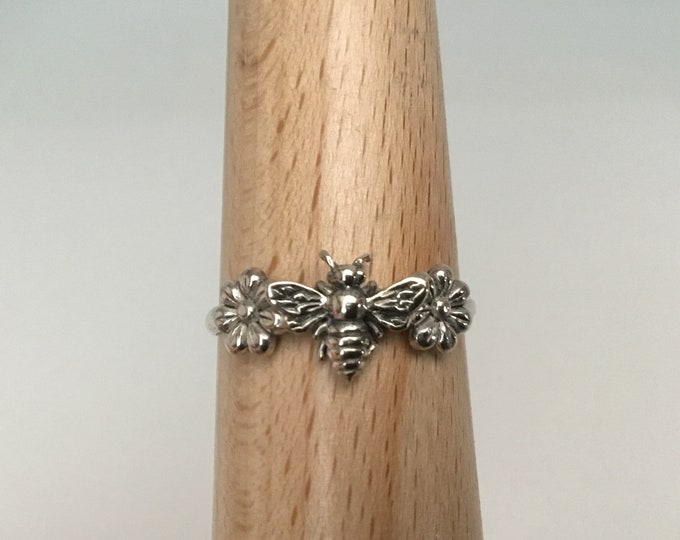 Sterling Silver Honey Bee Ring, Daisy Bee Ring, Handcrafted USA, Apiary Jewelry