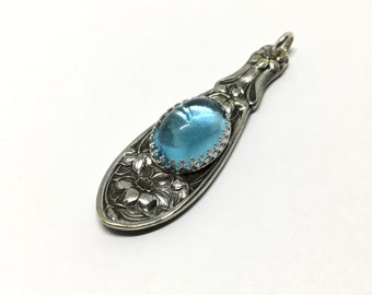 Vintage Silver Plated Spoon Handle Pendant, Vintage Swarovski Crystal Accent, Spoon Jewelry