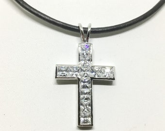 Vintage Nolan Miller Crystal Cross Necklace, Sparkly Clear Square Cut Crystals, Black Cord