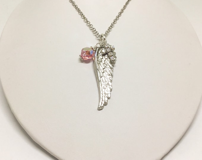 Angel Wing Necklace with Bead and Cross, Handcrafted Pewter Angel Wing, Light Rose Swarovski Crystal Bead, Clear Rhinestone Cross