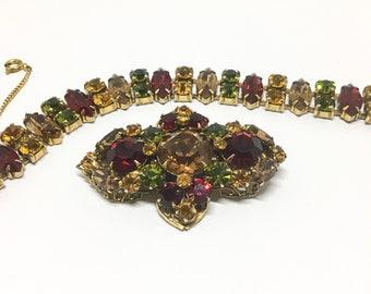 Vintage Signed Regency Rhinestone Bracelet and Brooch Set