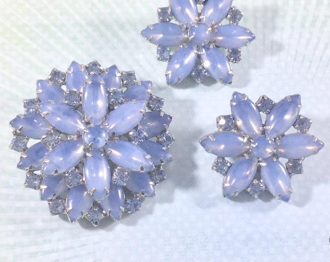 Vintage Blue Opalescent Rhinestone Flower Brooch Earring Set