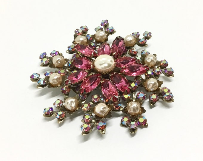Vintage Judy Lee Large Floral Rhinestone Brooch, Unsigned, Raspberry Pink Rhinestones, Faux Baroque Pearls, Unique Flower Brooch