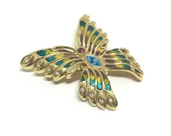 Bob Mackie Goldtone Butterfly Brooch, Enamel and Crystals