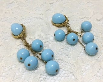 Les Bernard Earrings/Vintage 60s/Clip Earrings/Dangle Lucite Balls/Robins Egg Blue Balls/Signed Les Bernard/Goldtone/Costume Jewelry