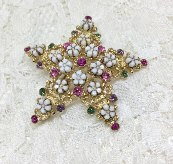 Vintage FLORENZA Star Flower Rhinestone Brooch Pin