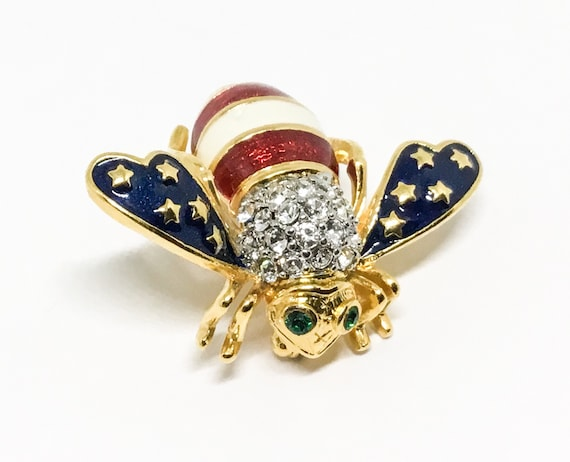 Joan Rivers USA Flag Bee Pin, Red White and Blue, Patriotic, Classic Collection, Bee Lovers