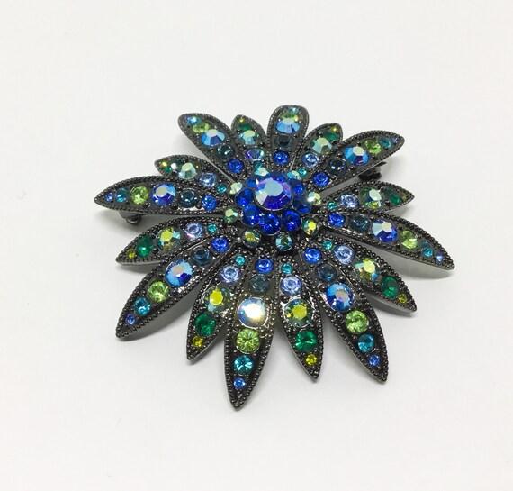 Joan Rivers Flower Brooch, Swarovski Crystals, Rhinestone Jewelry, Collectible Joan Rivers Jewelry