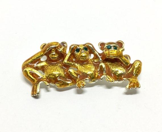 See No Evil Hear No Evil Speak No Evil Brooch, Three Monkeys, Gold Color Enamel, Great Detail