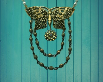 Handmade Butterfly with Aurum Bead Swag and Crystal Flower Dangle Necklace
