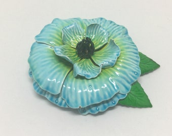 Vintage Enamel Poppy Metal Flower Brooch Pin