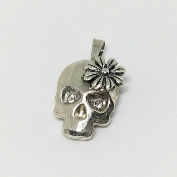 Cast Solid Sterling Silver Skull Pendant/ Handcrafted Skull/ Sterling Silver Daisy/ Clear Crystal Eyes/ Goth Pendant/ Skull Jewelry