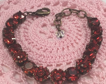 Handmade European Crystal Bracelet, Red and Red Flower Crystals, Valentine Gift