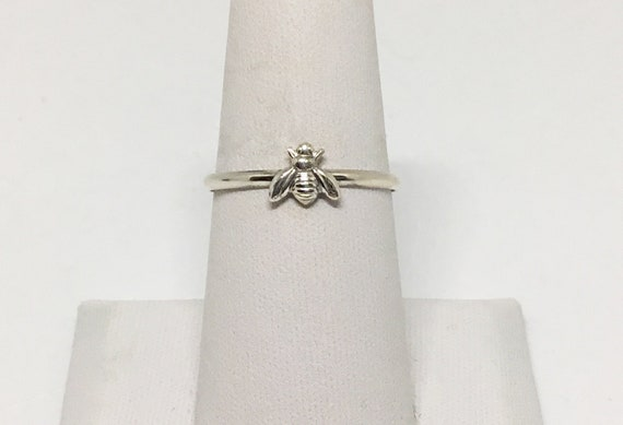 Made in USA Bee Ring, Sterling Silver Band, Silverplated Brass Bee, Stacking Ring, Dainty Bee Ring