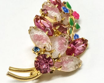 Vintage Pink Rhinestone Molded Glass Enamel Floral Overlay Brooch Pin