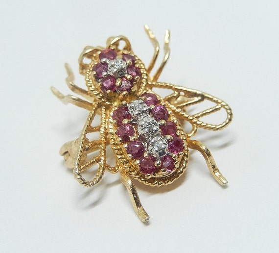 Vintage Gold Ruby Diamond Bee Brooch/Pendant, 14k Yellow Gold, Birthstone Ruby Bee Pin, Estate Bee Pin