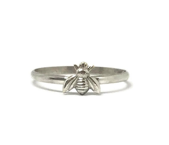 Handcrafted Bee Ring, Sterling Silver Band, Silverplated Brass Bee, Stacking Ring, Dainty Bee Ring