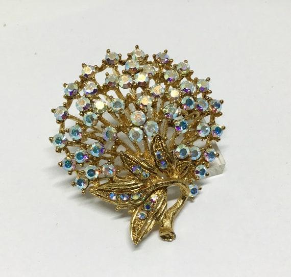 Vintage Rhinestone Brooch/Sparkly AB Rhinestones/Rhinestone Flower/Vintage Brooch Pin/Costume Jewelry/Brooch Pendant/Super Sparkly
