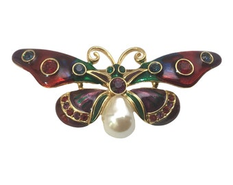 Vintage Joan Rivers Crystal and Enamel Butterfly, Bejeweled Butterflies, Collectible Butterfly Brooches
