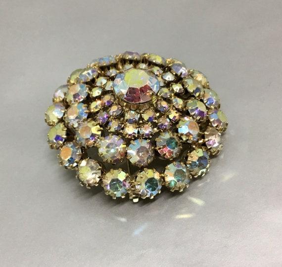 ... Vintage Aurora Borealis Dome Brooch, Vintage Rhinestone Brooch,  Rhinestone Jewelry, Midcentury