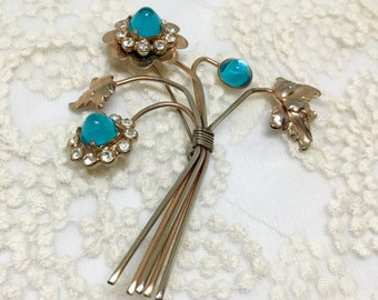 Amazing Vintage 1940s Large Wire Turquoise Glass Bullet/High Dome Flower Brooch Pin