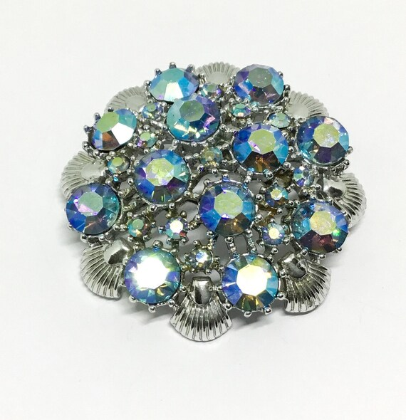 Vintage CORO AB Rhinestone & Shell Brooch, 1950s Vintage, CORO Collectible