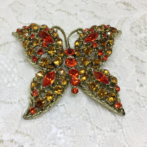 Vintage 1980s Orange Rhinestone Butterfly Brooch Pin