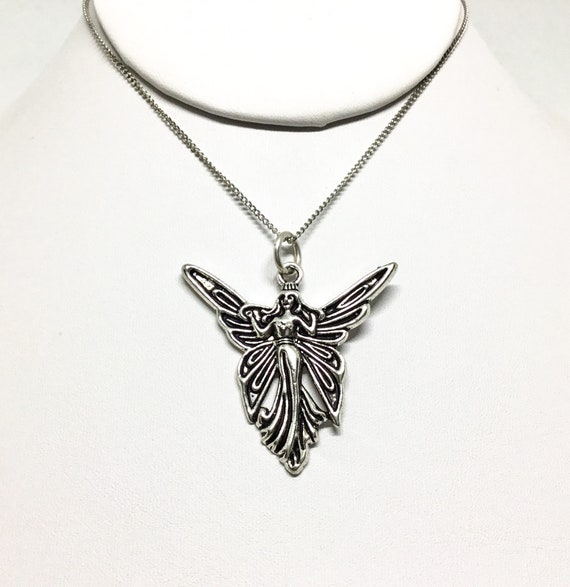 "Fairy Charm Necklace/ Antique Silvertone/ 18"" Silverplated Chain/ Lead and Nickel Free/ Sweet Gift"