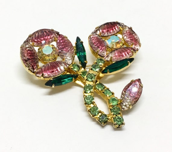 Vintage Flower Brooch/ Unique/ Two Flowers One Bud/ 1950s or 60s/ Bumpy Top Rhinestones Glow Pink & Clear/ Green Rhinestone Stem and Leaves