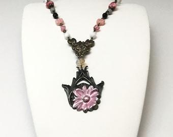 Handmade Multi Bead Necklace with Banana Bob Pendant