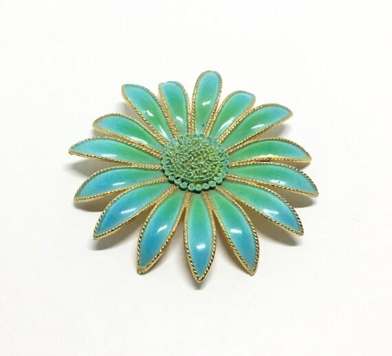 Vintage Gerber Daisy Flower Brooch, Large Enamel Flower, Metal Flower, Blue Fade To Green, Flower Lover