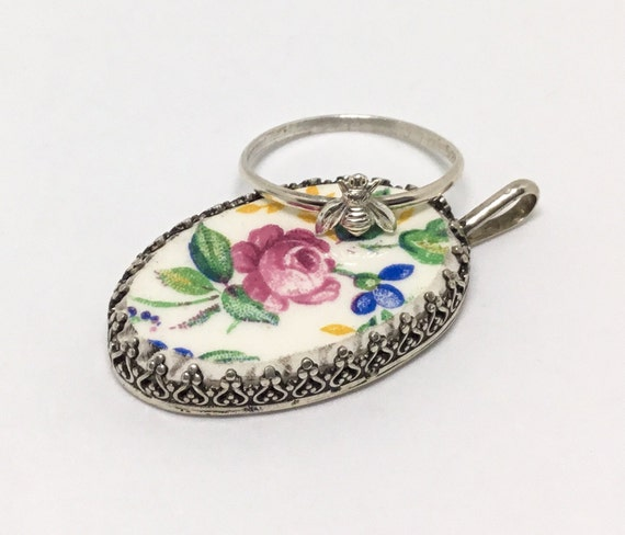 Broken China Floral Pendant & Dainty SS Bee Ring, Stacking Ring, Holiday Special,  Bee-utiful Gift