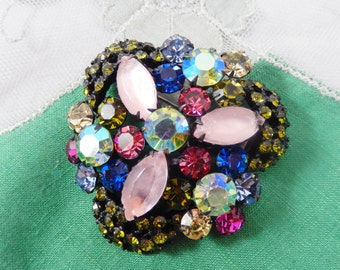 Vintage Japanned Flower Brooch with ABs Multicolor Glass Stones and Pink Satin Glass Navettes