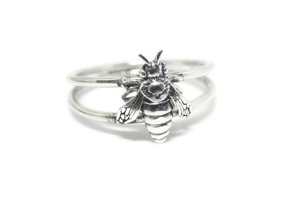 Bee Ring, 925 Sterling Silver, Double Band,  Handcrafted in USA, Size Options