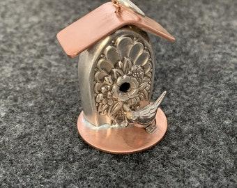 Silverware Bird House Pendant