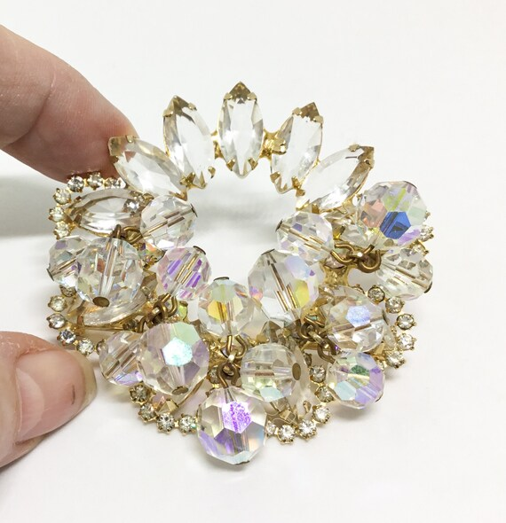 D & E Juliana Brooch, Vintage D and E Brooch, Icy Halo Rhinestone Brooch, Bridal Brooch