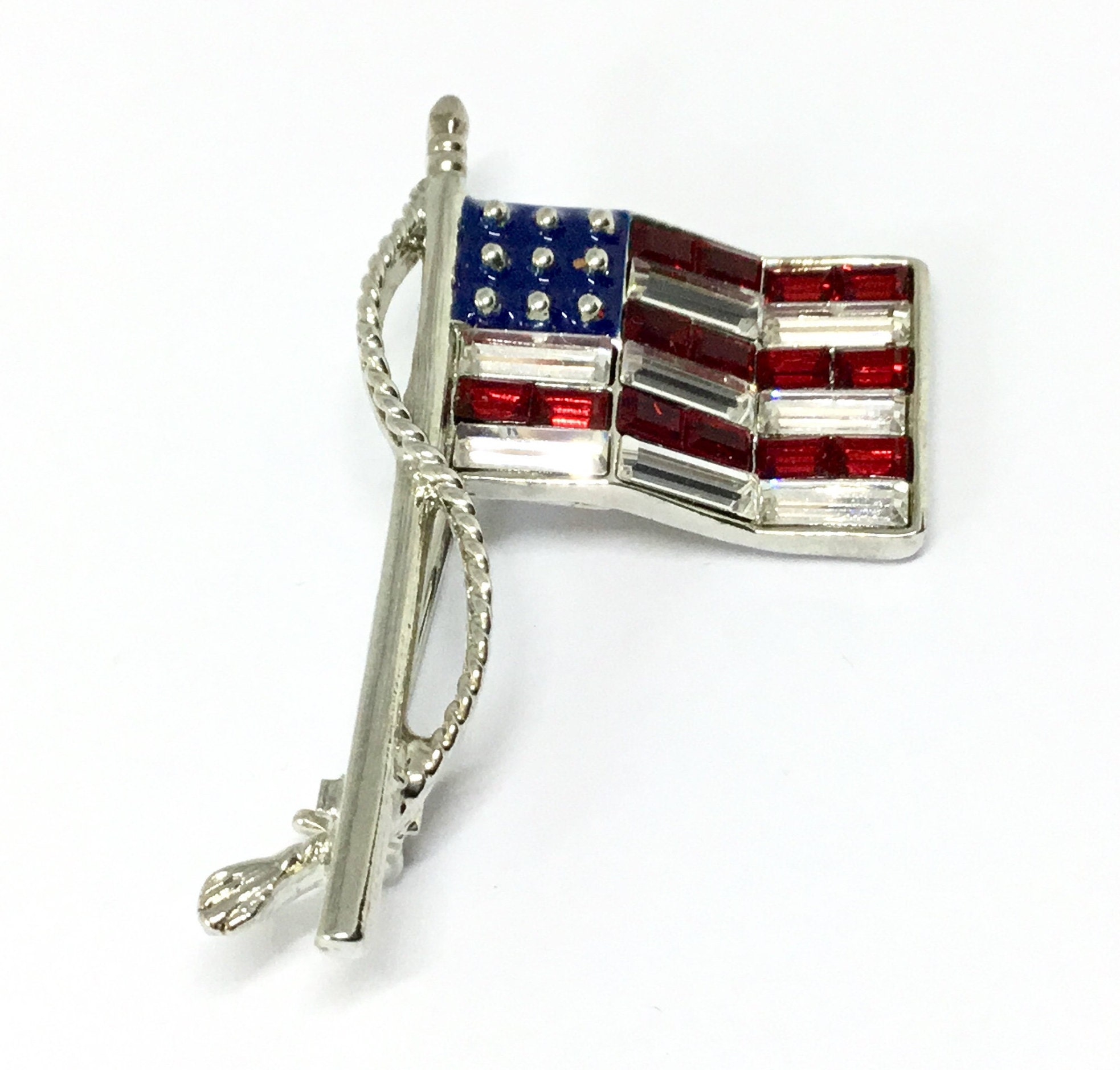Patriotic American USA Flag Silver Tone Enamel Metal Belt Buckle