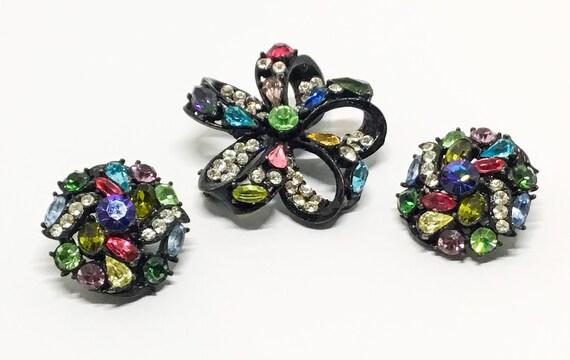 Vintage Hollycraft Brooch Earring Set, Japanned Setting, Multicolor Rhinestones, Married Set