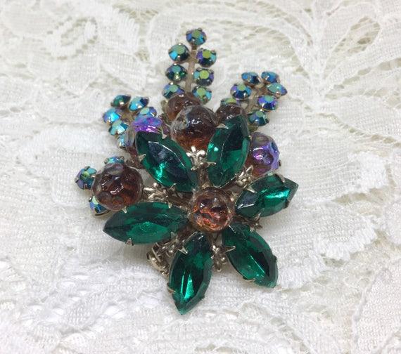 Vintage Art Glass & Rhinestone Flower Brooch Pin