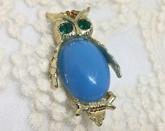 Vintage Blue Glass Belly Rhinestone Owl Brooch