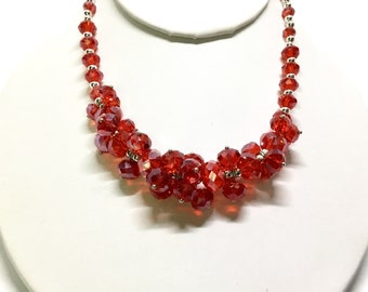 Vintage Glass Bead Cluster Necklaces, 1970s, Red Gold and Multicolor, Faceted Beads, Vintage Jewelry