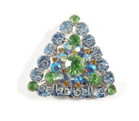 Vintage Triangular Rhinestone Brooch/ Silvertone Filigree/ Unique