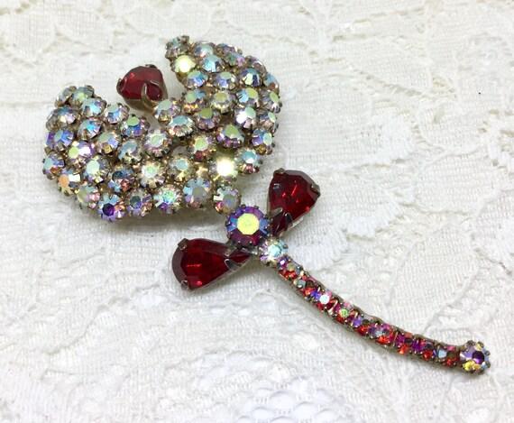 Vintage Gorgeous AB & Red Rhinestone Flower Brooch Pin