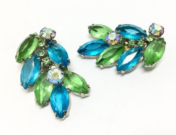 Vintage Blue & Green Rhinestone Clip Earrings