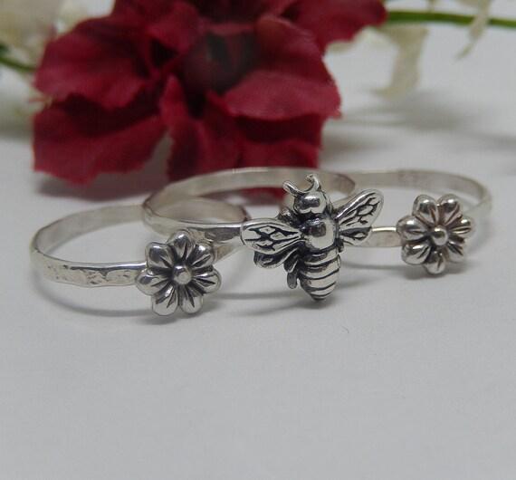 Bee Ring Stacking Set, 925 Sterling Silver Ring, Stacking Ring Set, Flower Ring