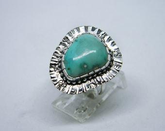 Handmade Southwest Turquoise Sterling Silver Ring, Sunburst Pattern