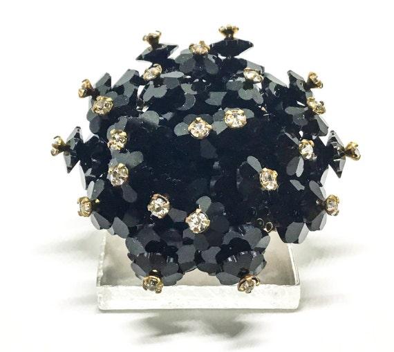 Vintage Margarita Flower Cluster Brooch, Rhinestone Headpins, Black Margarita Rhinestones, Mourning Brooch