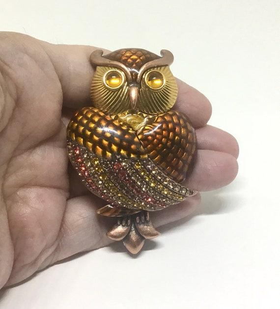 Vintage Joan Rivers Owl Brooch, Rninestones and En